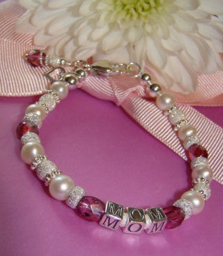 Sparkling All Bright Stardust Pearl Birthstone Adult Name Bracelet