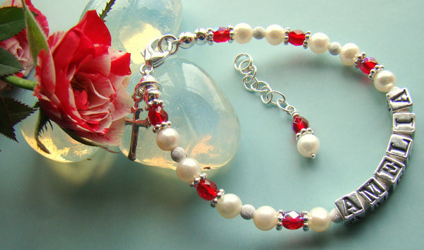 Baptism Christening Cross Pearl Ruby July Birthstone Baby Name Religious Bracelet