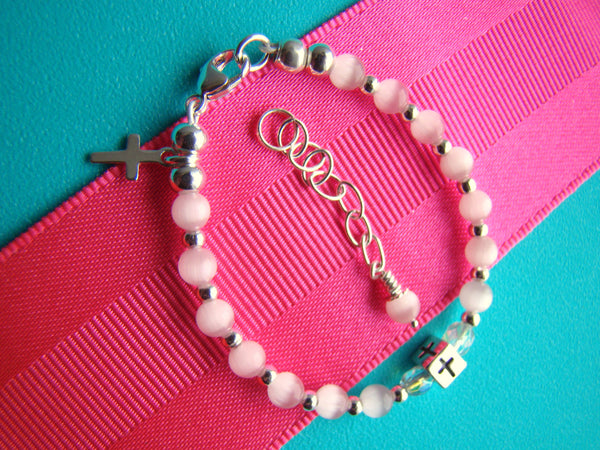 Blue Pink White Boy or Girl Cat Eye Baptism Religious Charm Bracelet
