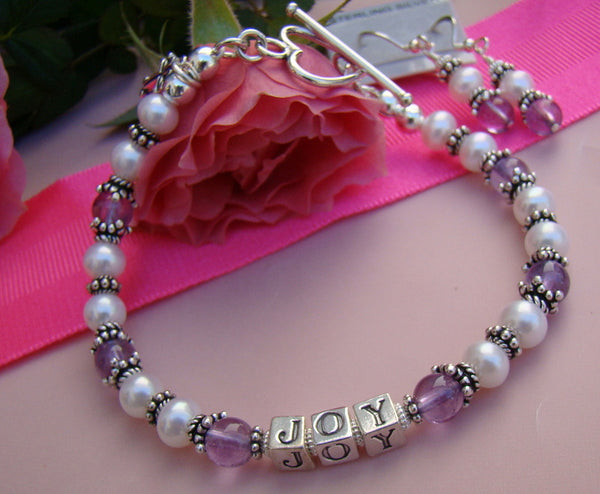 Light Amethyst Gemstone White Pearl June Birthstone Bali Name Bracelet