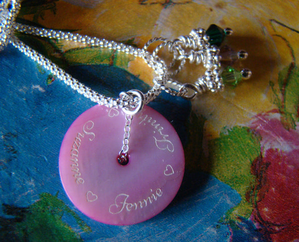 Engraved Custom Names Pendant Circle Birthstones Charm Necklace
