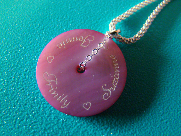 Engraved Shell Script Font Mothers Childrens Name Necklace