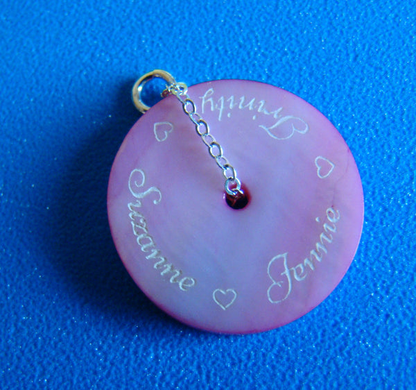 Engraved Mother Of Pearl Pink Shell 20mm Round Circle Single Double Triple Name Pendant
