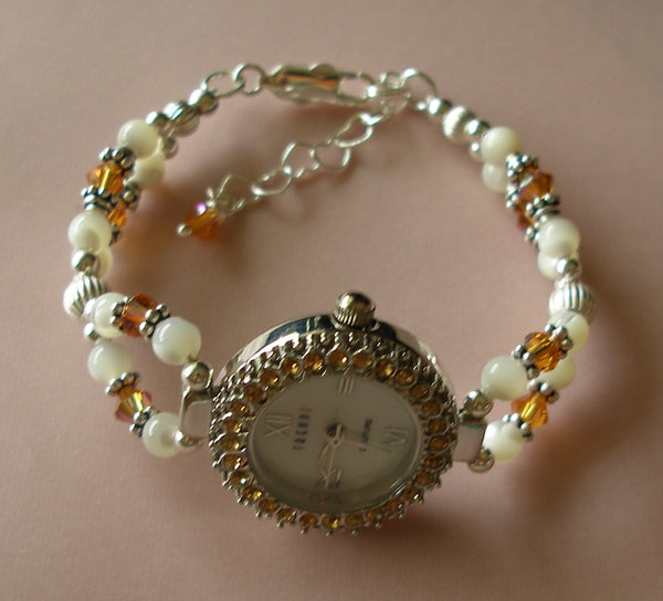 Sterling Silver Swarovski Crystals White Pearl Beaded Birthstone Watch