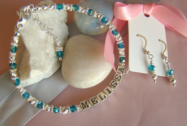 December Turquoise Custom personalized Name Bracelet