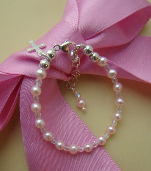 Freshwater Pearls Tiny Crystals Baptism Religious Bracelet