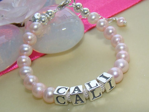 Classic Freshwater Pink Pearl Sterling Silver Name Bracelet