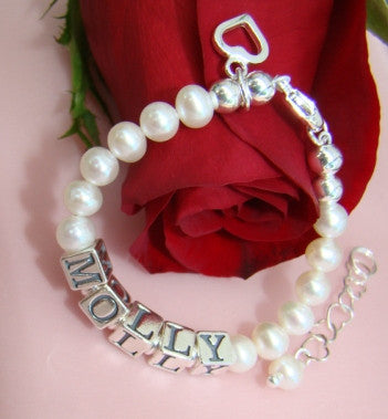 Wrapped in White Pearls Custom Baby Name Bracelet