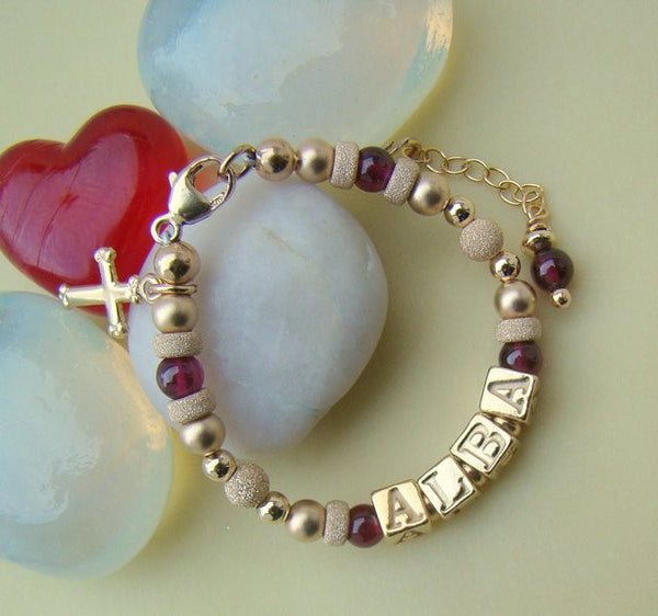 Gold Filled Stardust Traditional Garnet January Gemstone Birthstone Monogram Initial Bracelet
