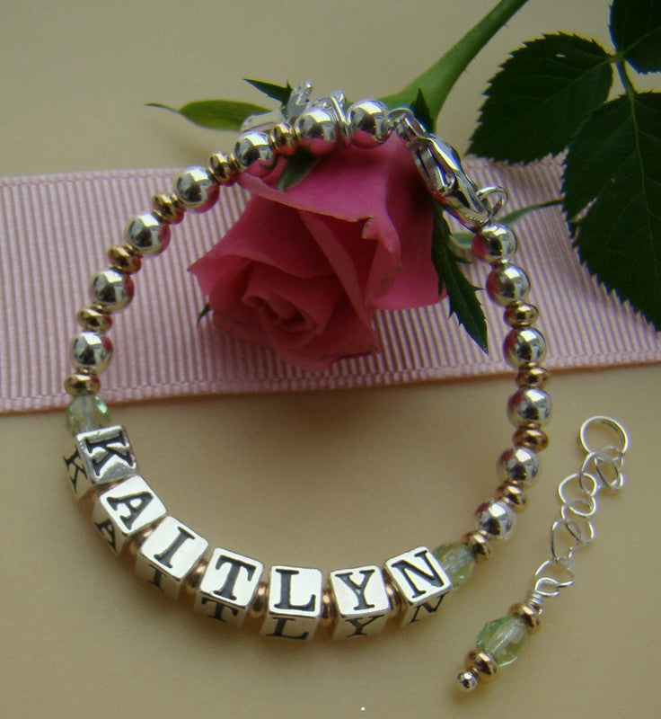 Gold Filled Sterling Silver Fire Czech August Peridot Birthstone Name Bracelet
