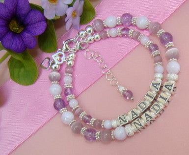 Mother and Daughter Baby Mom Soft Lavender Gemstone Purple Personalized Name Bracelets