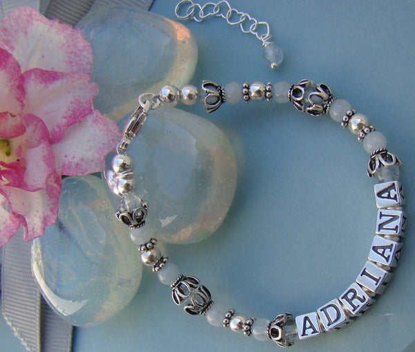 Aquamarine Gemstone March Birthstone Name Bracelet