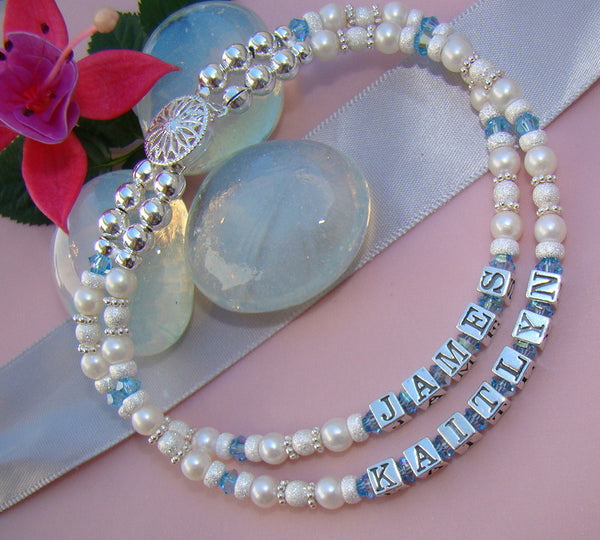 Stardust Mothers Mom Grandma Family Birthstone Multiple Triple Strand Name Bracelet