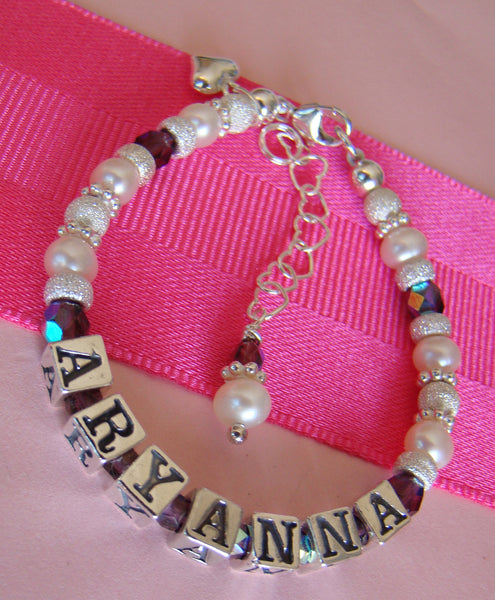 Sparkling All Bright Stardust Pearl Birthstone Name Bracelet