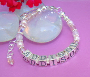 Pretty in Pink Gems Pearls Child Baby Bracelet - Your Choice of Pink Crystal