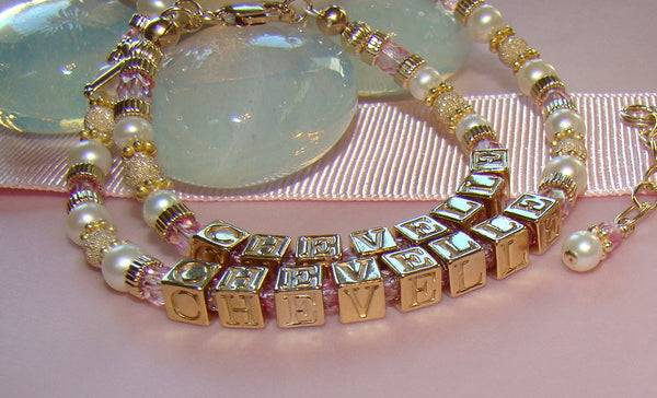 Mother and Daughter All Gold Filled Pearl Birthstone Monogram Initial Bracelets
