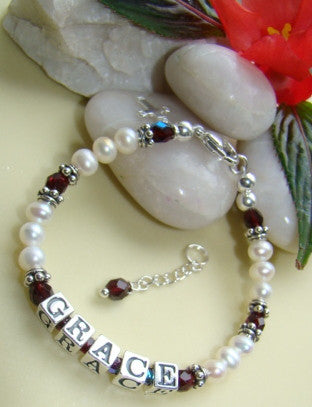 Classic White Pearl Birthstone Name Bracelet with Fire Czech Crystals