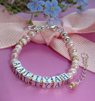 Gold and Pink Pearls Little Girl Charming Name Bracelet