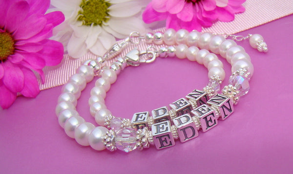 Mother Daughter Cultured White Round Pearl Matching Birthstone Name Bracelets