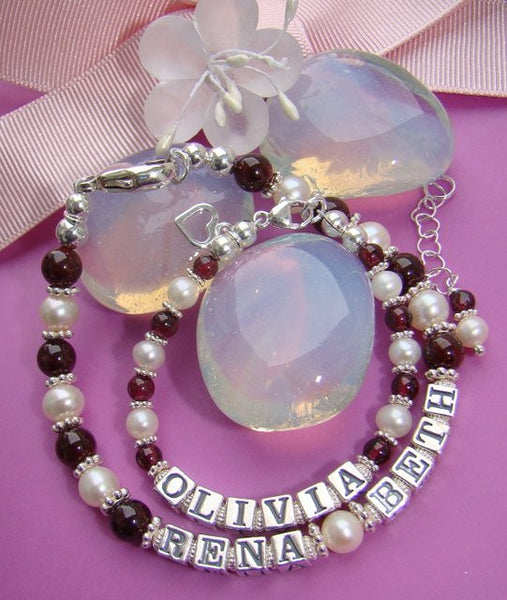 Mother and Daughter Freshwater White Pearls January Garnet Gemstone Name Bracelets