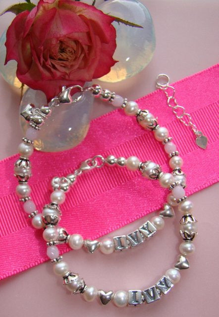 Mother and Daughter Vintage White Pearls Silver Twists and Puffed Hearts Name Bracelets
