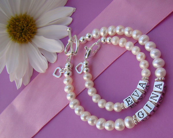Mother and Daughter Classic White Freshwater Pearls Baby Mom Bracelets Personalized Custom Names
