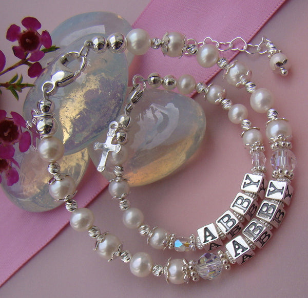 Mother Daughter All White Pearls Sterling Silver Baptism Name Personalized Religious Bracelets