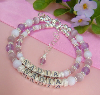 Mother and Daughter Soft Purple Lavender Gemstone Personalized Name Bracelets