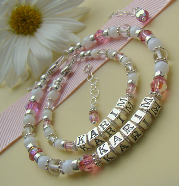 Mother and Daughter Mother of Pearl Natural Shell Crystal Quartz Matching Birthstone Bracelets