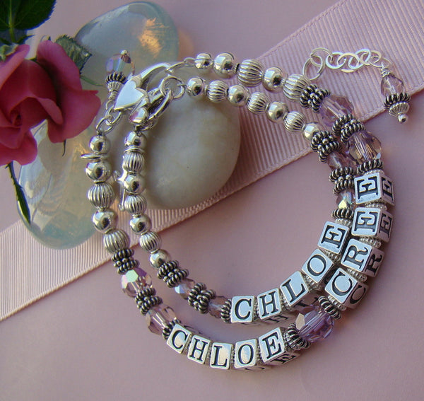 Mother Daughter All Sterling Silver Baptism Light Amethyst June Birthstone Name Bracelets