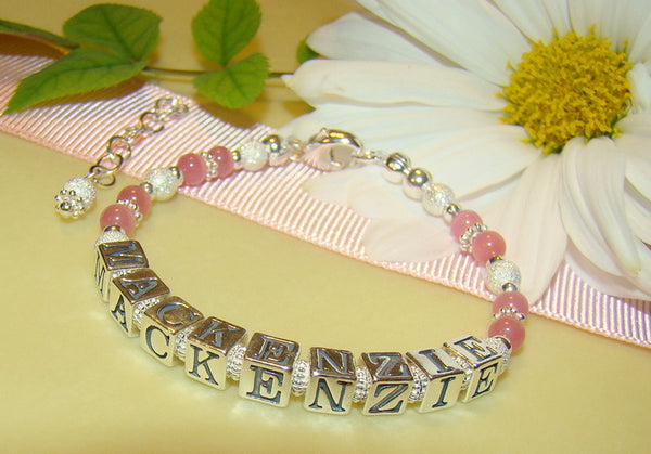 All Pink Cats Eye Sterling Silver Sparkling Stardust Name Bracelet