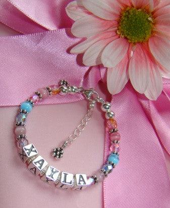 Bling for Spring Multicolor Pastel Colored Crystals Little Girl Name Bracelet