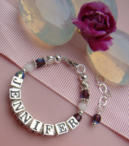 White Cats Eye Czech Amethyst February Birthstone Name Bracelet