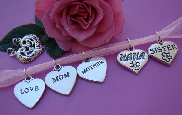Family Heart Message Bracelet Pendant Charms 925 Solid Sterling Silver