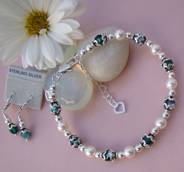 Pearls and Silver Swarovski Crystal Family Birthstone Bracelet