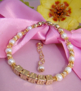 Gold 20K Filled Citrine Gemstone November Monogram Initial Birthstone Bracelet