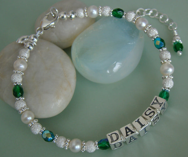 Sparkling White Freshwater Pearls Sterling Silver May Emerald Birthstone Bracelet