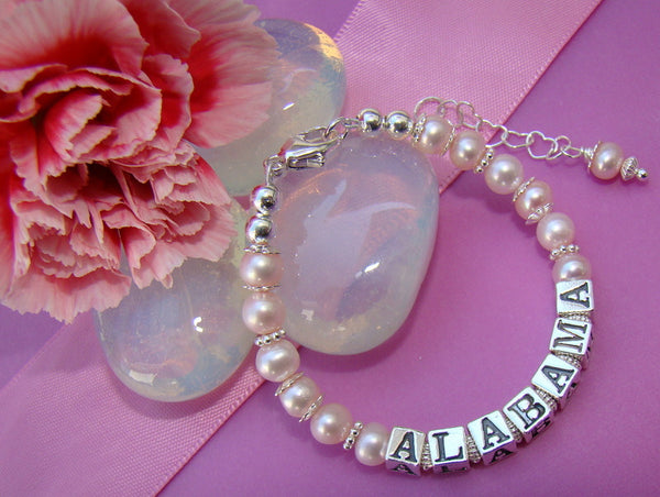 Little Girl Pink Natural Freshwater Pearls Baby Custom Name Bracelet