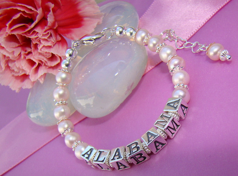 Freshwater Pearls Bright Sparkling Sterling Silver Name Bracelet