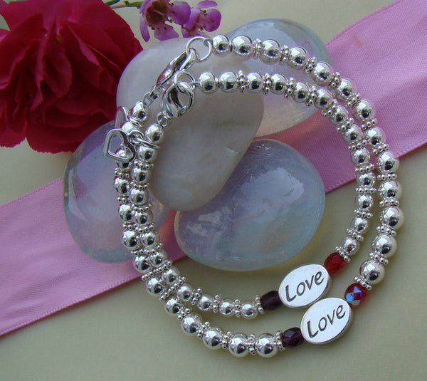 Sterling Silver Mother and Daughter Love Message Name Beaded Bracelets