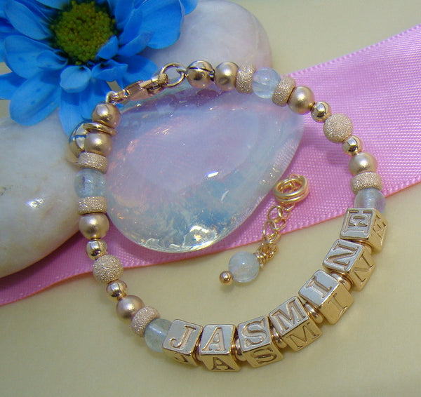 Gold Filled Aquamarine March Gemstone Birthstone Monogram Initial Bracelet