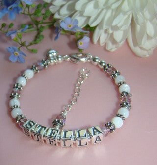 White Mother of Pearl Shell Bali Silver Birthstone Name Bracelet