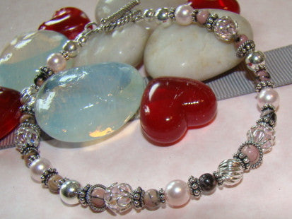 Passions of Rhodonite Spiritual Gemstone Sterling Silver Bracelet