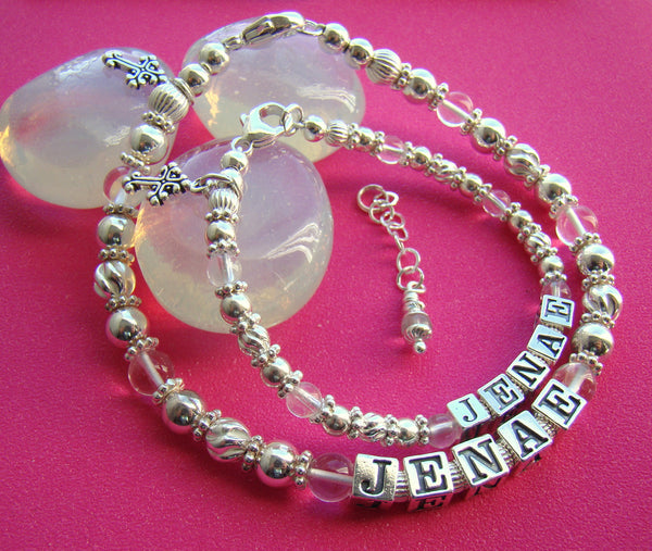 Mother and Daughter April Crystal Gemstone Birthstone Sterling Silver Scroll Cross Charm Baptism Name Bracelets