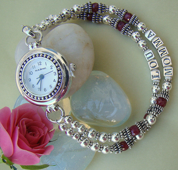 Mothers Name Personalized Silver Natural Custom Gemstone Birthstone Watch
