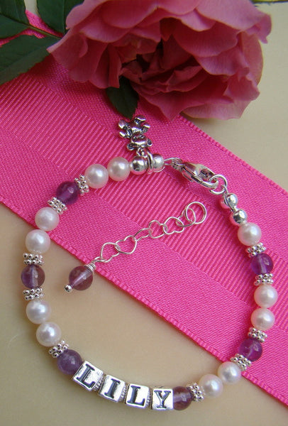 Pearls Silver Light Amethyst June Birthstone Child Baby Name Bracelet with Teddy Bear Charm