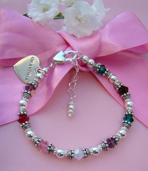 Multiple Family Mother Grandmother Crystal Birthstone Bracelet with grandma charm