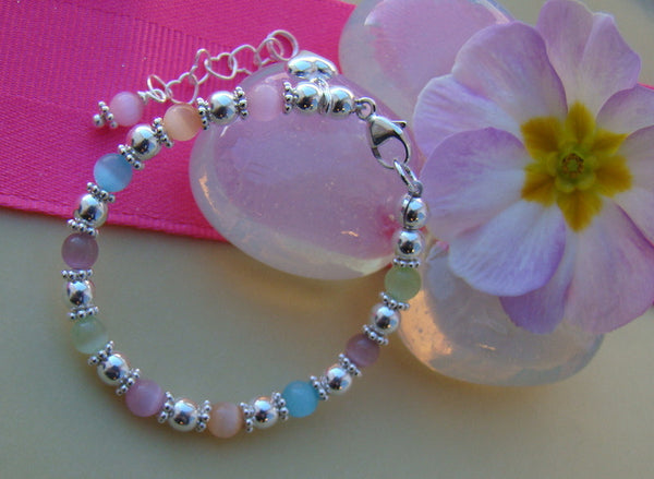 Sterling Silver Cat Eye Pastel Mix Little Girls Bracelet