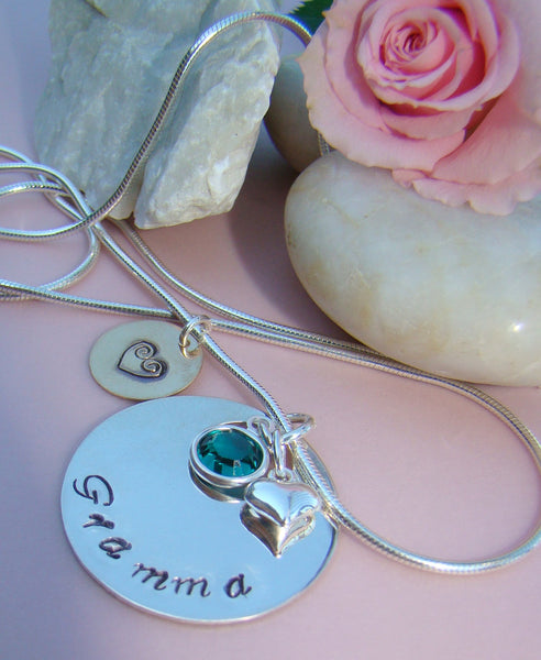 Sterling Silver Gold Filled You Are Loved Hand Stamped Gramma Pendant Necklace