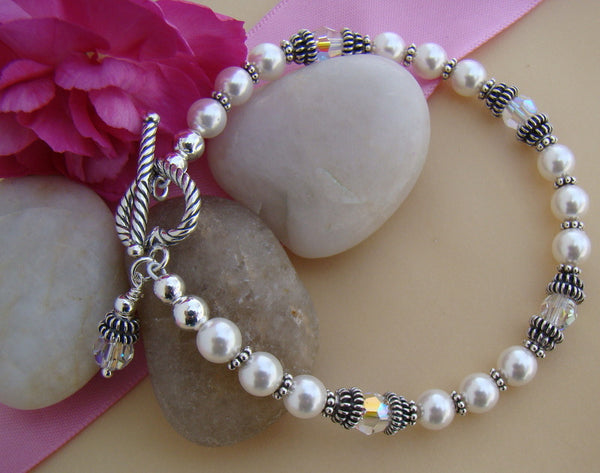Double Bali Sterling Silver White Pearl Crystals Birthstone Bracelet